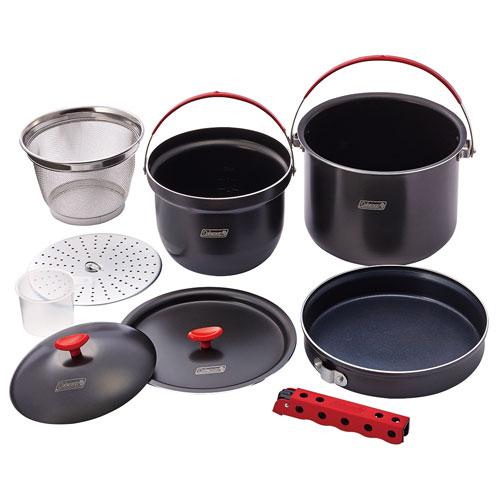 【露營趣】中和 附手電筒 Coleman CM-26764 硬鋁鍋具組 鋁合金套鍋 煮飯鍋 煎鍋 平底鍋 湯鍋