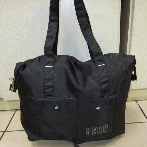~雪黛屋~YESON 收納購物袋 收納摺疊環保袋超輕防水尼龍布材質備用旅行袋輕便好收納 F-333黑