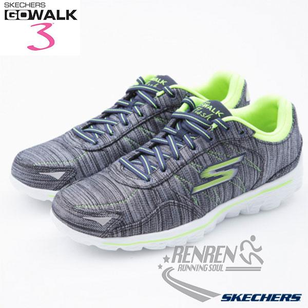 SKECHERS 女健走鞋GO WALK 3 (海軍藍*萊姆綠) 懶人鞋 運動鞋