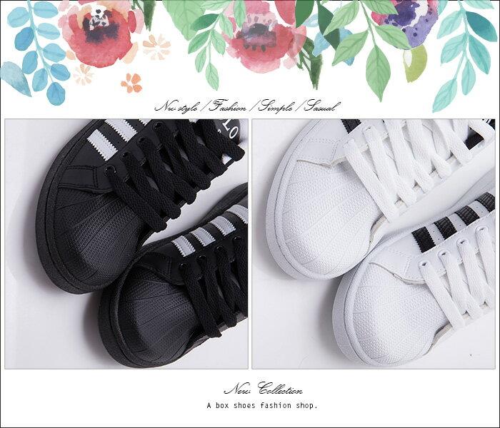 ★399免運★格子舖*【ABP-9008】MIT台灣製 經典黑白時尚 流行穿搭貝殼鞋 綁帶休閒板鞋 黑色/白黑 2色 1