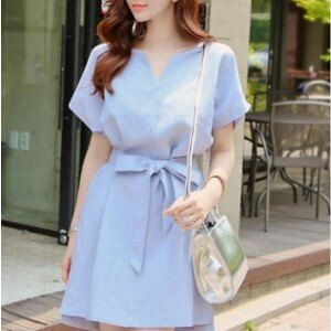 美麗大街~IR1891~甜美V領純色修身短袖連衣裙