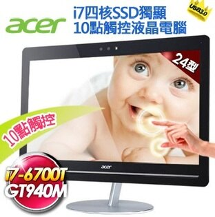 "ACER AU5-710-001 24型6代i7四核SSD獨顯 10點觸控Win10 AIO電腦  i7-6700T;8GB*1 /23.8""T;256GSSD/N1T;SM DL / WLAN+BT;CR/GT940M-2G;W10HGML /135W;無線KB/MOU"