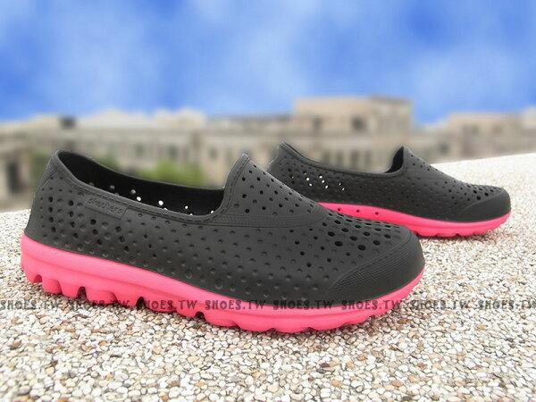Shoestw【86622LBKHP】SKECHERS 中童鞋 海灘鞋 H2GO 超軟Q底 黑桃紅 呼吸