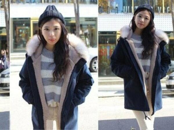 Jeco日韓質感-韓國羔羊絨外套超大毛領棉衣外套