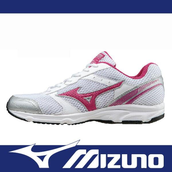 【出清65折!】萬特戶外運動 MIZUNO K1GA161359 女慢跑鞋 MAXIMIZER 18 寬楦 舒適 基本款 學生鞋 白色+桃紅LOGO