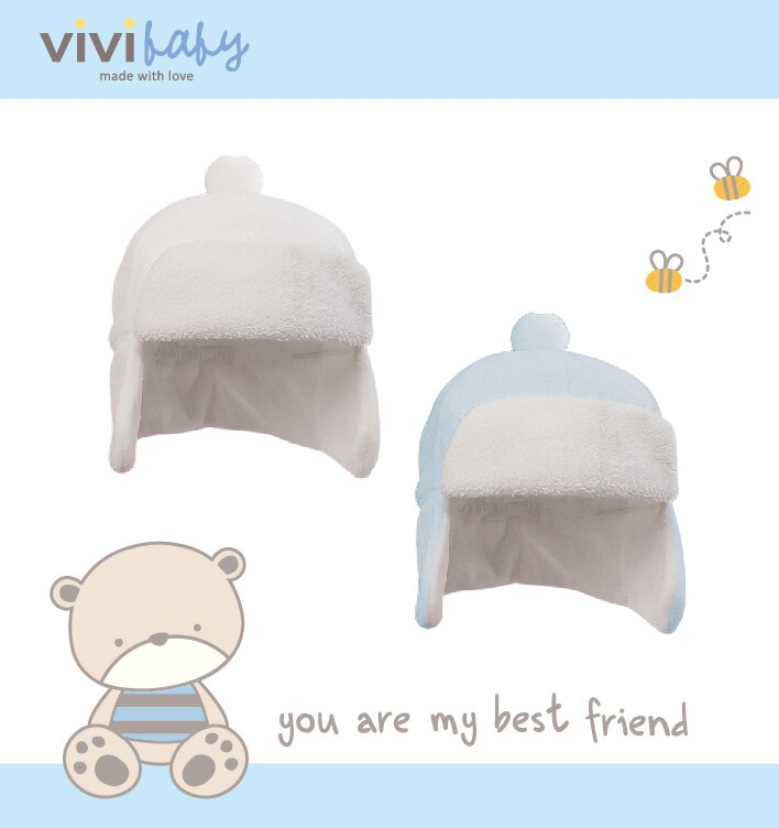 ViVi Baby - 絨球遮耳帽 (藍) 1