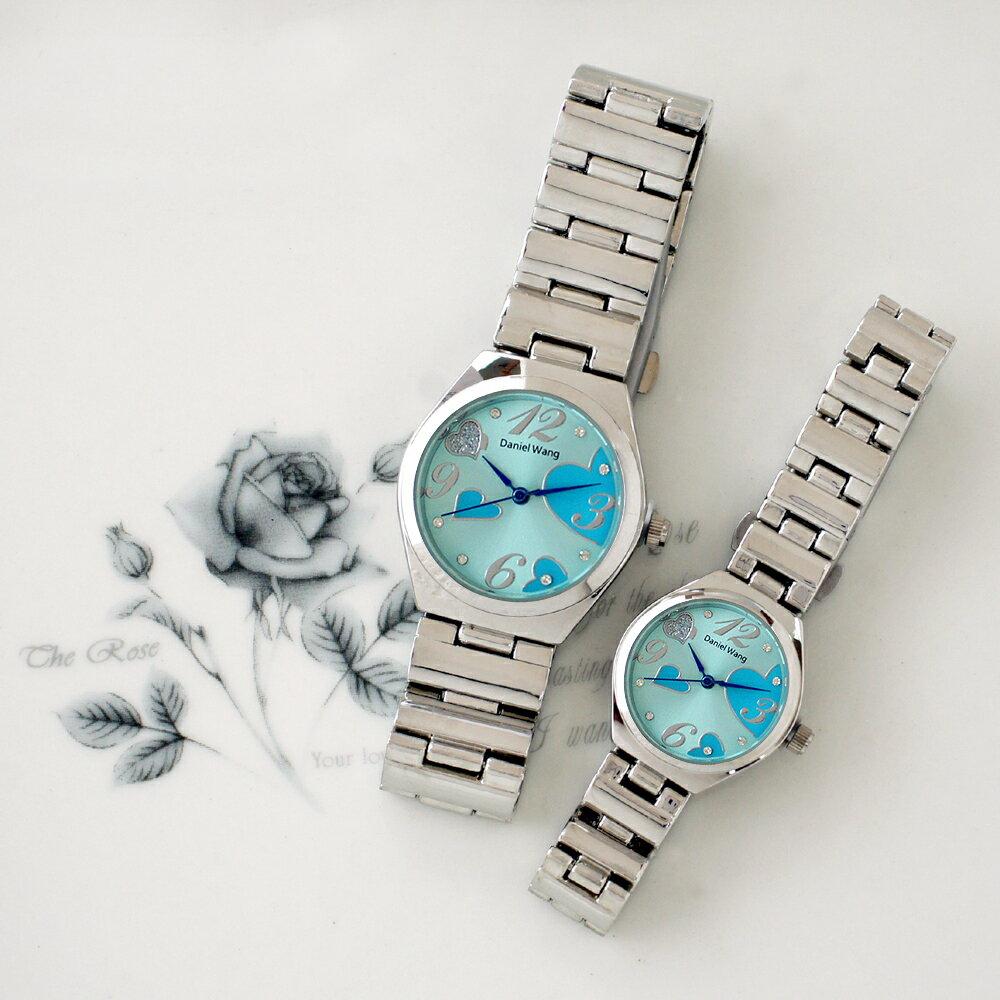 Daniel Wang 3145 浪漫愛心亮鑽刻度銀色鐵帶對錶 0