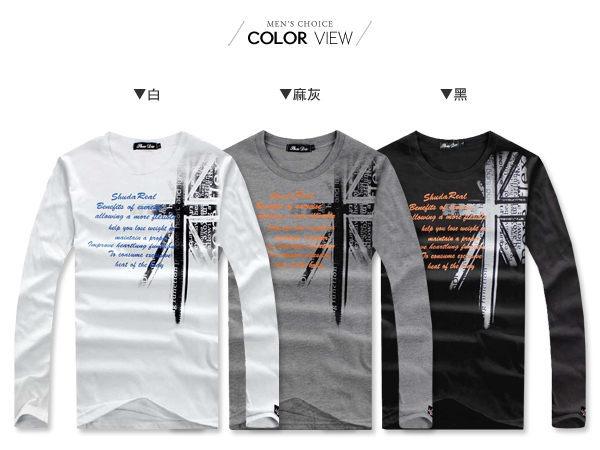 ☆BOY-2☆ 【NR73950】美式潮流休閒國旗長袖T恤 1