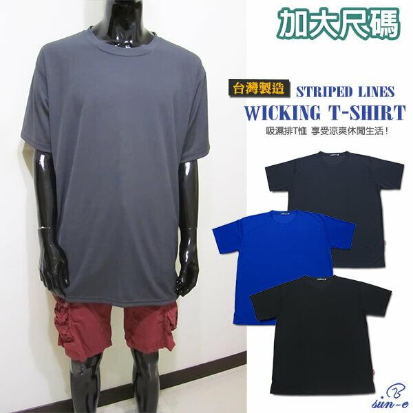 sun~e加大 吸濕排汗彈性短T、加大  圓領短袖T恤、加大 直條紋TEE、加大 聚酯纖維