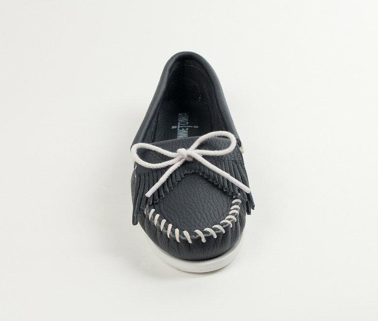 【Minnetonka 莫卡辛】藍色- 經典牛皮流蘇帆船鞋 3