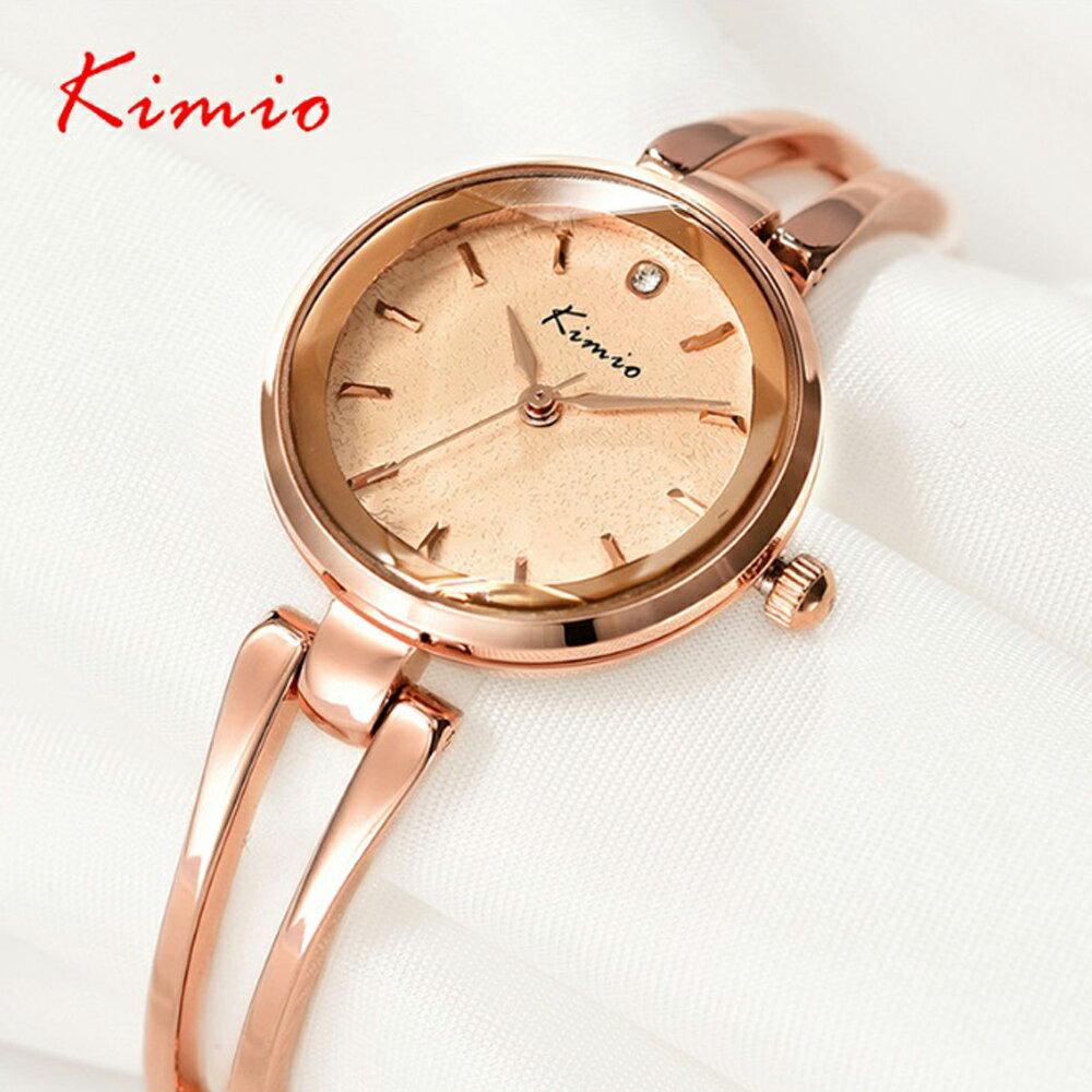 Kimio 金米歐 KW-6033 閃亮六芒星切割玻璃鏡面典雅玫瑰金手鍊錶 - 限時優惠好康折扣