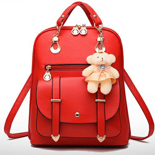 包包 - 可愛學生風小熊吊飾三用背包【21551】 藍色巴黎《5色》現貨 2