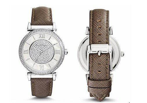 美國Outlet 正品代購 MichaelKors MK 銀鑲鑽 深咖色皮帶三環計時手錶腕錶 MK2377 2