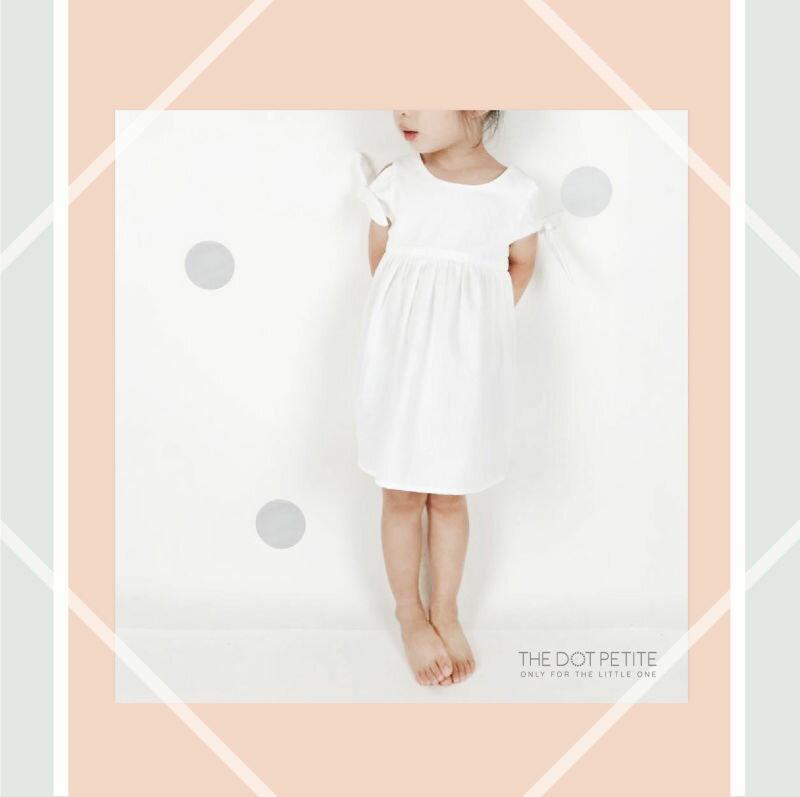 THE DOT PETITE中韓 _女童洋裝_白色露肩背心洋裝 吊帶裙 背心裙 ~  好康
