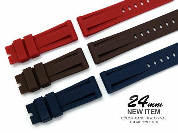 │完全計時手錶館│ Panerai 沛納海代用 精緻柔軟防水矽膠錶帶 24mm 三色 配件