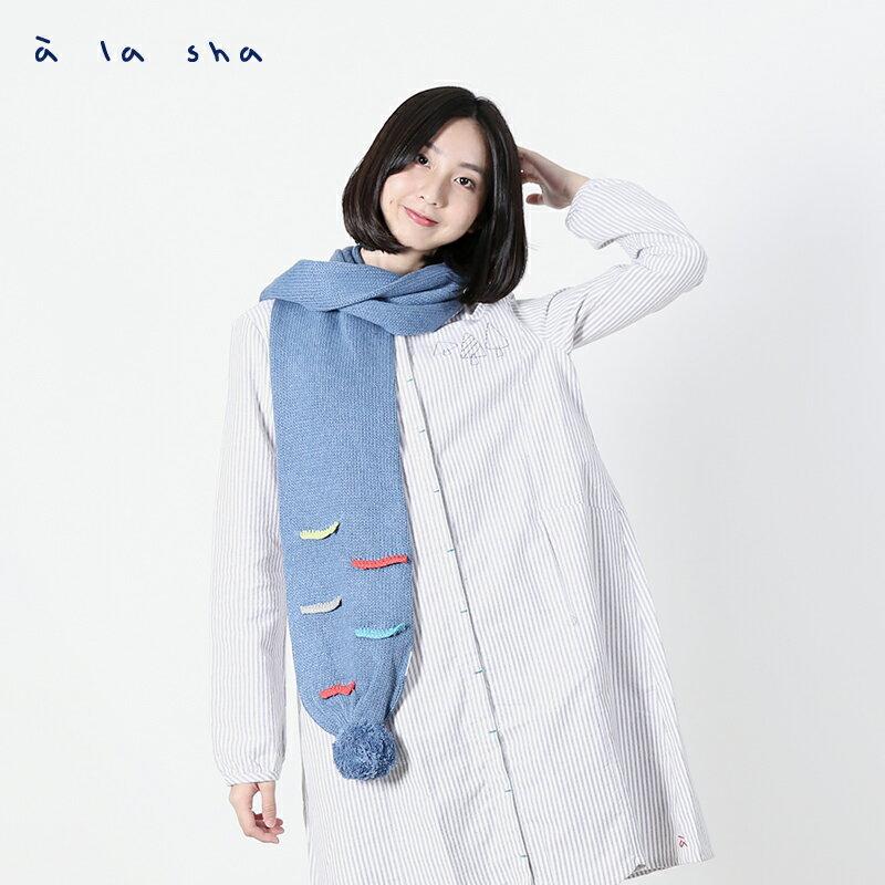 a la sha Qummi 彩色線條毛線球圍巾 0
