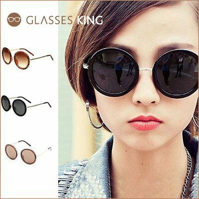 眼鏡王☆圓框復古金屬膠框正韓國俏皮正妹大框歐美文青太陽眼鏡墨鏡黑色豹紋白咖啡色S67