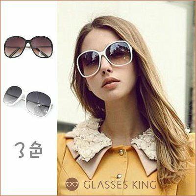 眼鏡王☆韓國名媛顯瘦時尚D字淺色漸層金屬大方框搭比基尼咖啡豹紋黑白墨鏡太陽眼鏡S66