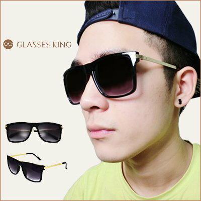 眼鏡王☆金屬鏡腳造型設計韓國基本款流行方框方形大框正妹小臉必備太陽眼鏡墨鏡UV400夏日海灘黑色S182