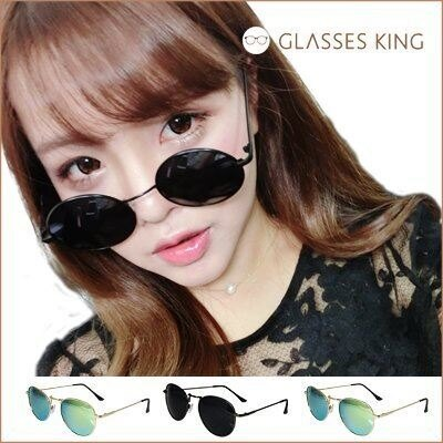 眼鏡王~金屬雷朋金色復古 墨鏡小框圓框韓國帥氣反光鏡片太陽眼鏡鏡面水銀藍綠黑色羅志祥S17