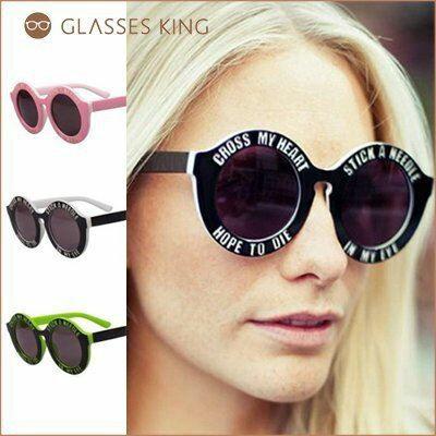 眼鏡王☆現貨!粗框膠框圓框英文字歐美大牌明星款墨鏡太陽眼鏡粗版綠白黑粉紅色綠黃S73