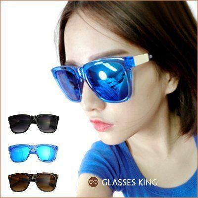 眼鏡王☆金屬造型裝飾設計韓國復古方框墨鏡太陽眼鏡夏日海灘黑色反光藍色豹紋S204