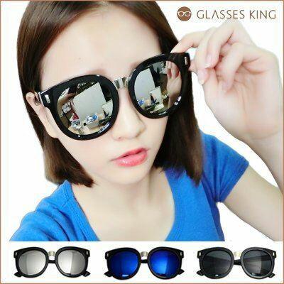 眼鏡王☆大框鉚釘圓框韓國型男正妹金屬顯瘦小臉海邊太陽眼鏡墨鏡金藍反光白藍綠黑色S208