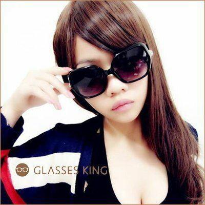 眼鏡王☆小卡風豹頭金屬金色膠框大框水鑽復古方框韓國太陽眼鏡墨鏡黑色豹紋白色S-57
