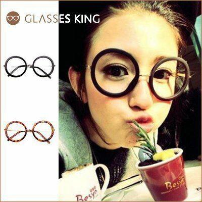 眼鏡王☆圓框復古金屬膠框正韓國俏皮正妹大框歐美文青太陽眼鏡墨鏡黑色豹紋白咖啡A-64