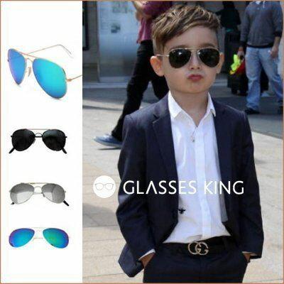 眼鏡王☆現貨!小孩兒童眼鏡太陽眼鏡墨鏡雷朋金屬帥氣反光鏡片水銀咖啡色藍綠色銀黑色K1