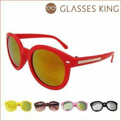 眼鏡王☆箭頭復古超圓框太陽眼鏡墨鏡張柏芝小孩兒童反光桃紅黃色黑紅粉紅白色K23