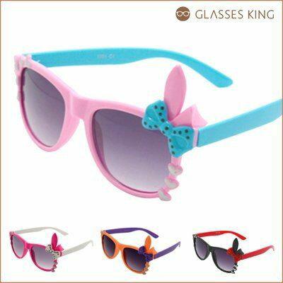 眼鏡王☆現貨!小孩兒童造型框韓國人氣兔子可愛蝴蝶結愛心墨鏡太陽眼鏡紅藍白橘紫粉紅K36