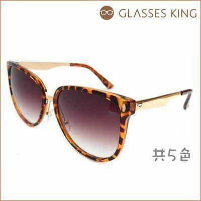 眼鏡王~ 金屬腳架膠框雷朋圓大框復古鉚釘鼻墊韓太陽眼鏡墨鏡咖啡黑豹紋S~42 ~  好康折