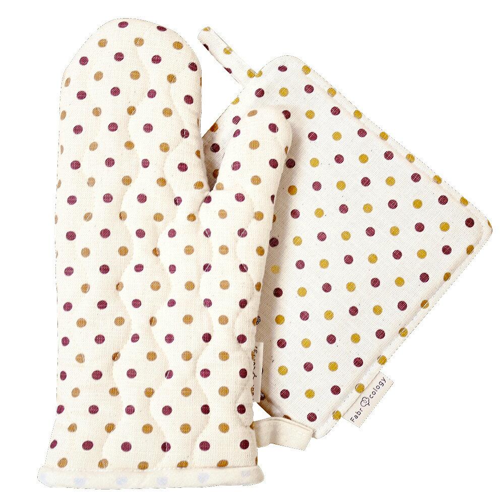【布學無數】雙色水玉紋隔熱墊+手套 (組合價) 居家/廚房用品 1