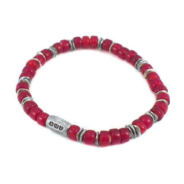 【海外訂購】【amp japan】White Heart 紅色玻璃珠手環(AMP-14AH-440RD  0782920000) 1