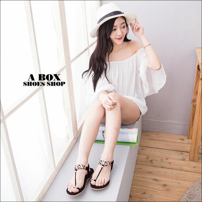 格子舖*【ADF309-18】嚴選時尚素面麂皮 金屬綴飾 舒適鬆緊繞踝 套指涼鞋 2色 2