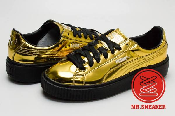 ☆Mr.Sneaker☆ Puma Basket Platform Metallic 金屬 鏡面 漆皮 似The Creeper 金色 女段