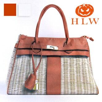 HLW NY Print Bag 轉印包 藤編系列 咖啡 白 側(肩)背包 柏金包 HLW轉印包 S 包 綵情時尚精品