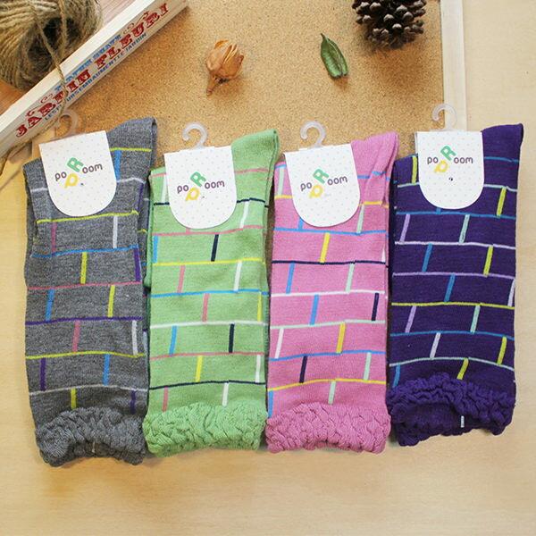 襪子 古著復古 日本氣質個性 SEIO 經典個性獨特圖型 俏皮可愛 抽籤遊戲 樓梯紋 襪子 (4色)
