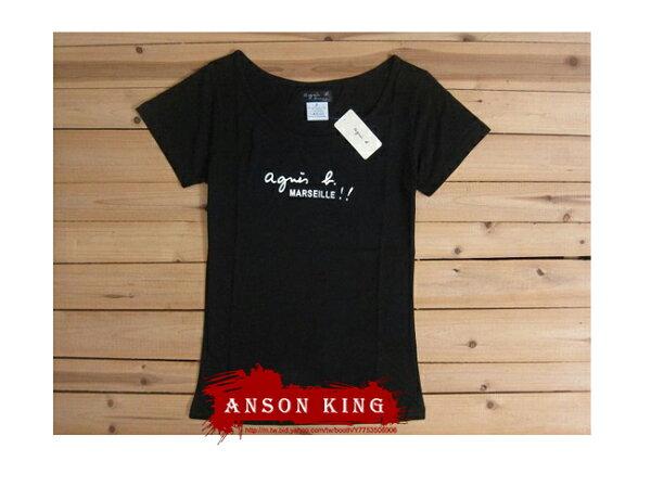 [Anson king]outlet國外代購 agnes b Marseille 短袖 圓領 女款 T恤 黑