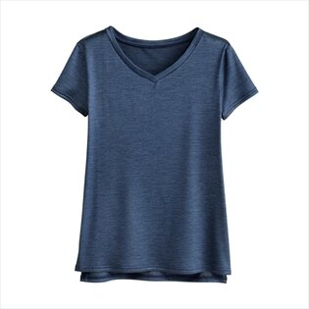 日本空運nissen  -女裝-100%絲T恤-深藍色