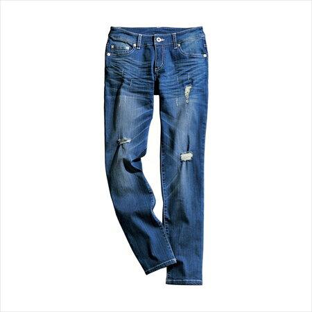 日本空運nissen  -女裝-超彈性9分長緊身破損牛仔褲(下襠長69cm)-仿舊藍色