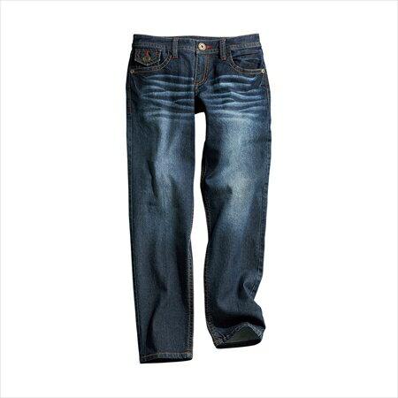 日本空運nissen  -女裝-超彈性寬鬆合身後拉鍊9分長錐形牛仔褲(下襠長64cm)-深藍色系