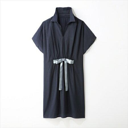日本空運nissen  -女裝-腰部蝴蝶結長襯衫-深藍色