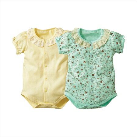 日本空運nissen  -童裝-女童緊身連身內衣2件組-奶油色+薄荷色系