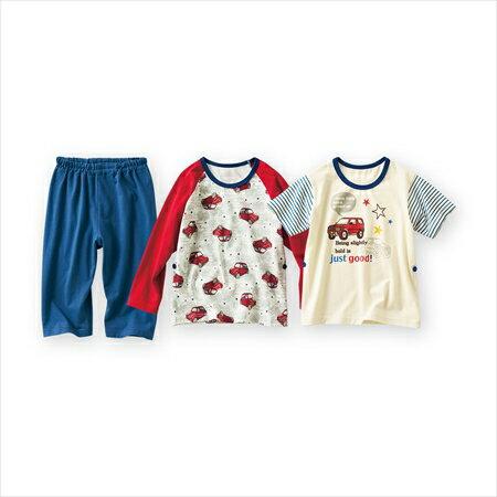 日本空運nissen  -童裝-男孩2件上衣睡衣(短袖上衣+長袖上衣+五分褲)-象牙黃色系+紅色系