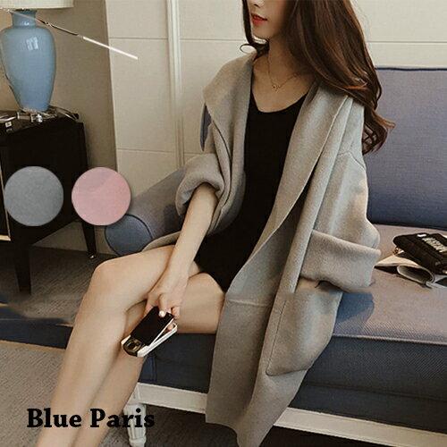 外套 - 純色長袖開衫寬鬆磨毛連帽大衣 外套【29162】藍色巴黎《2色》現貨+預購 0