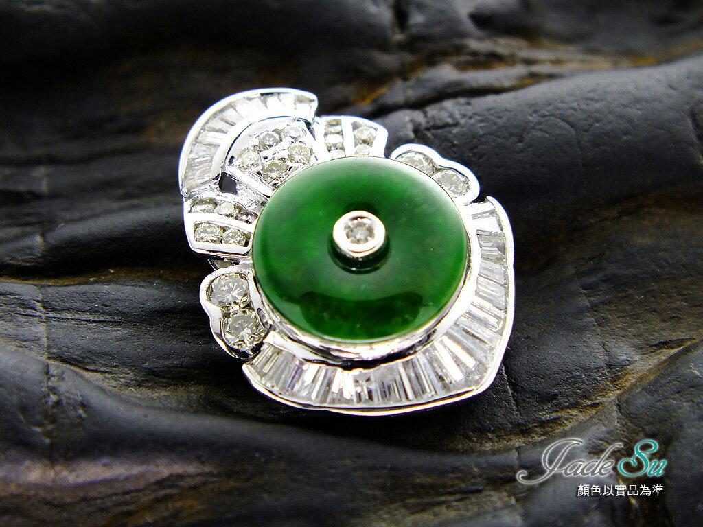 天然緬甸產A貨翡翠鑽墬\滿綠冰種\玉質通透\鑲嵌天然南非鑽石 1.50克拉\14白K金墬台\Jade Su Jewelry