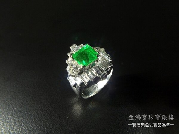 頂級哥倫比亞產祖母綠鑽戒\2.10克拉\鑲嵌頂級大克拉天然南非鑽石\18白K金戒台\中國寶石鑑定書\Jade Su Jewelry