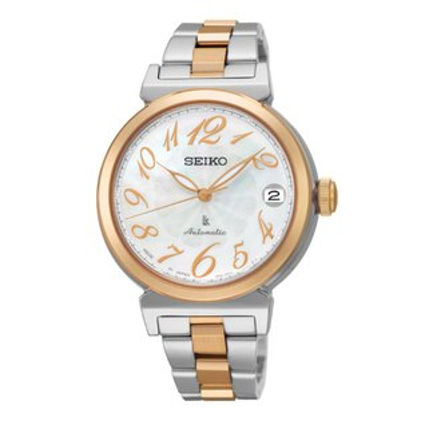 Seiko Lukia 4R35-00J0KS(SRP872J1)雙色典雅玫瑰金機械腕錶/白貝面33mm
